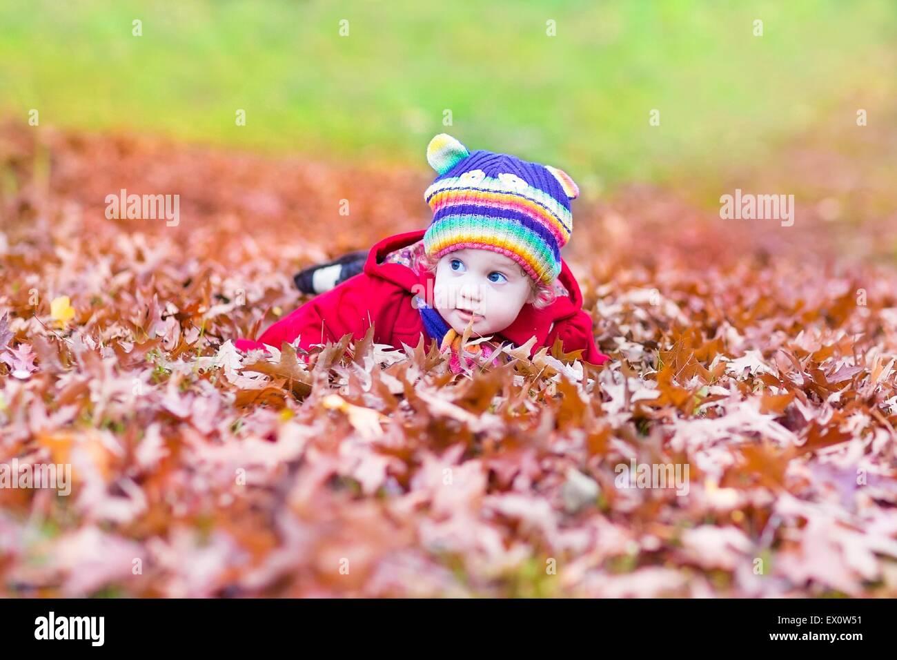 Lustiges kleines Mädchen spielen mit bunten roten Herbst Blätter Stockbild
