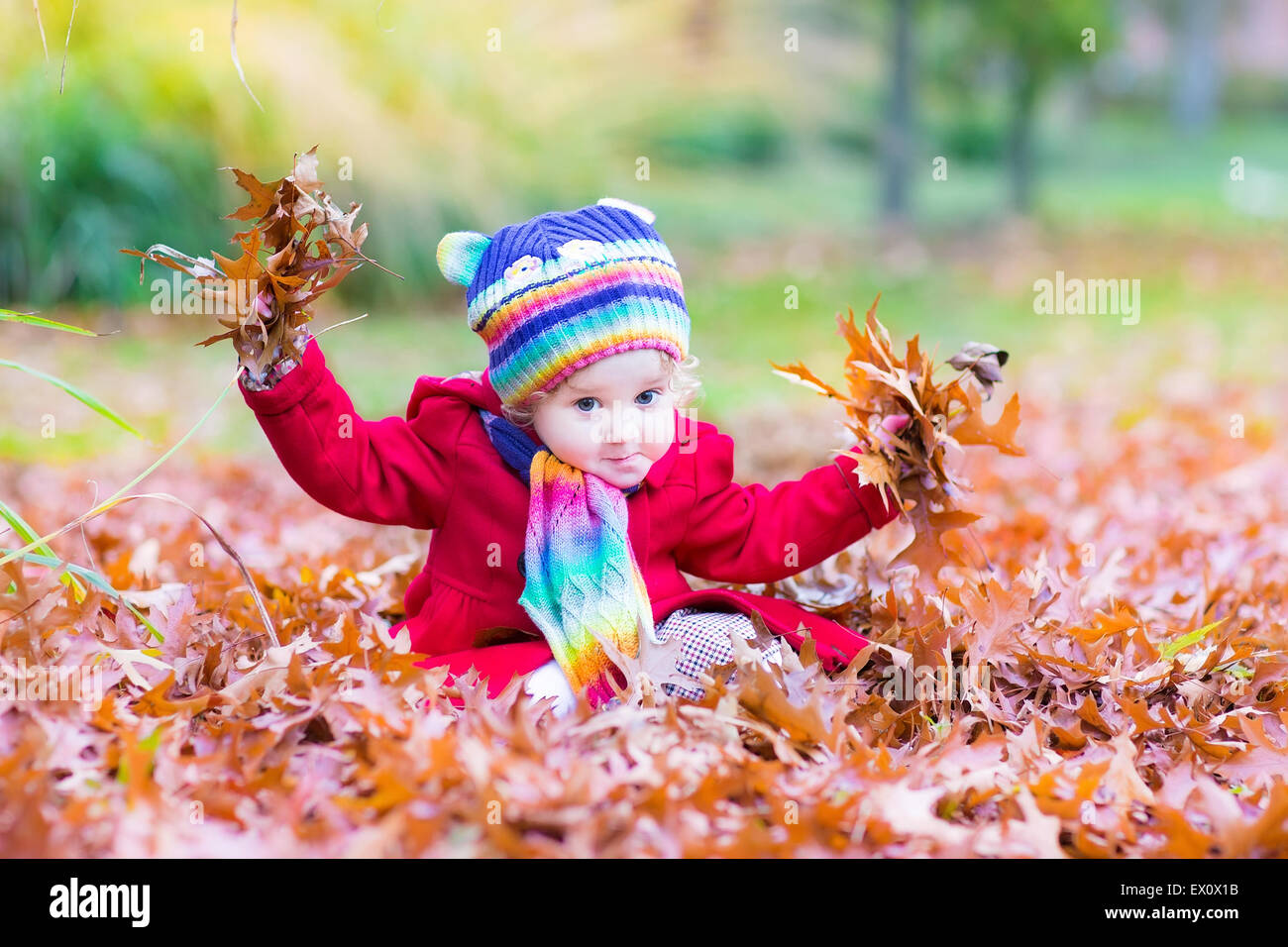 Entzückende Kleinkind Mädchen mit einem bunten Schal und Mütze mit rote Blätter im Herbst Park Stockbild