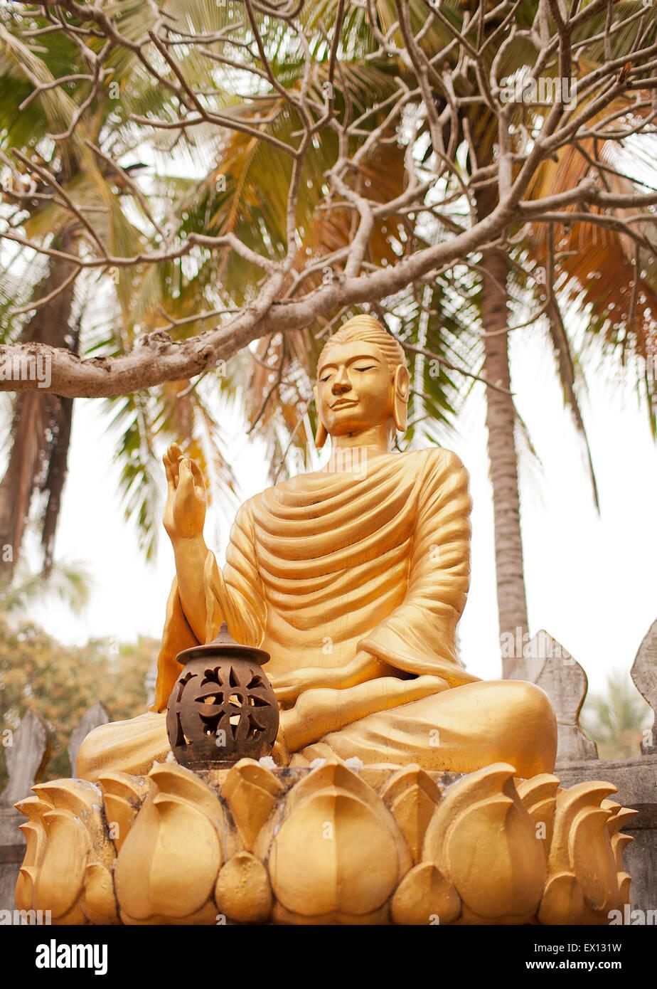 Ein Garten der Buddhas in Wat Choumkhong. Die Buddhas zeigen einige der 7 Positionen von Buddha.Luang Prabang, Laos Stockbild