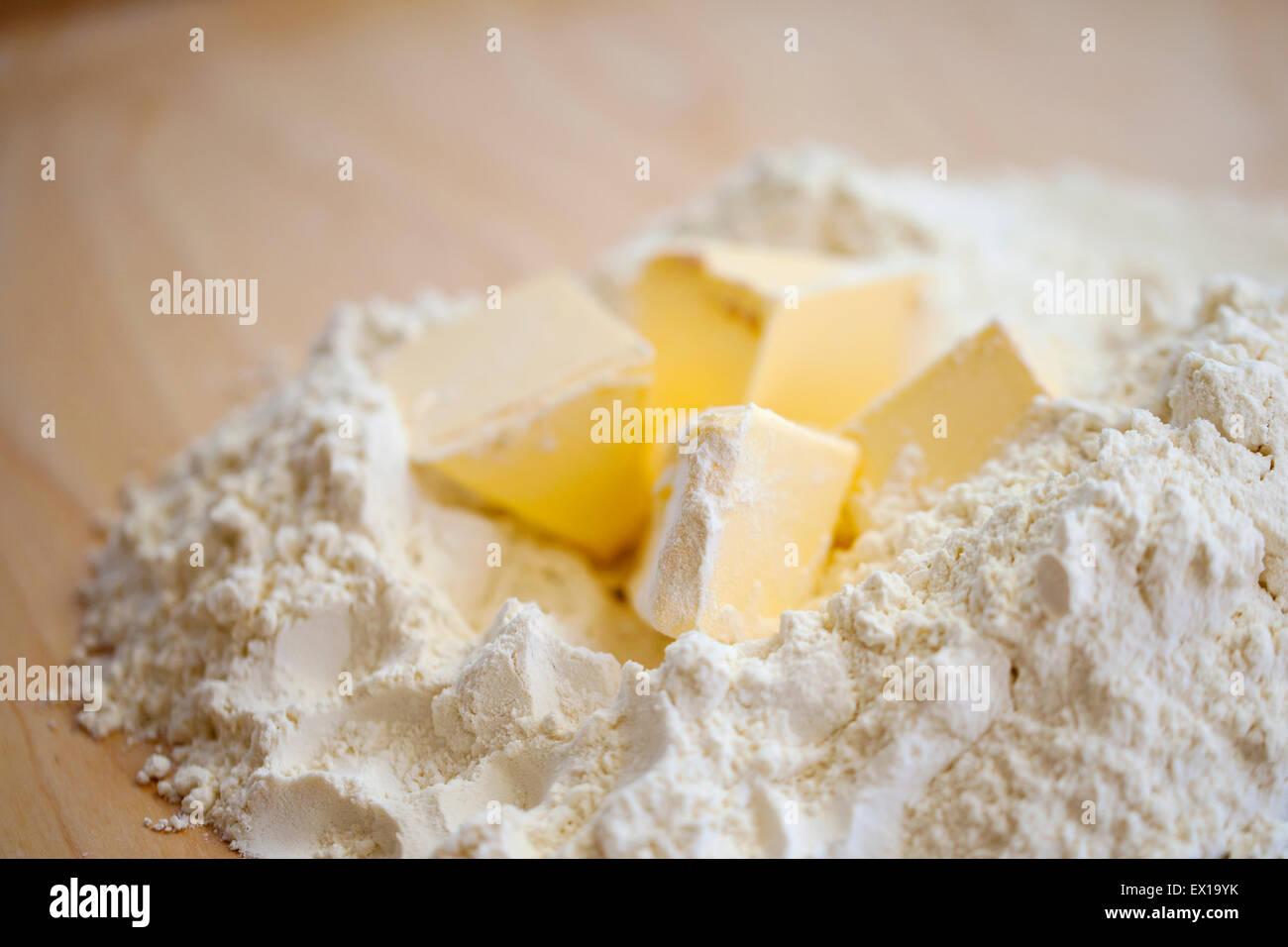 Mehl und butter Stockbild