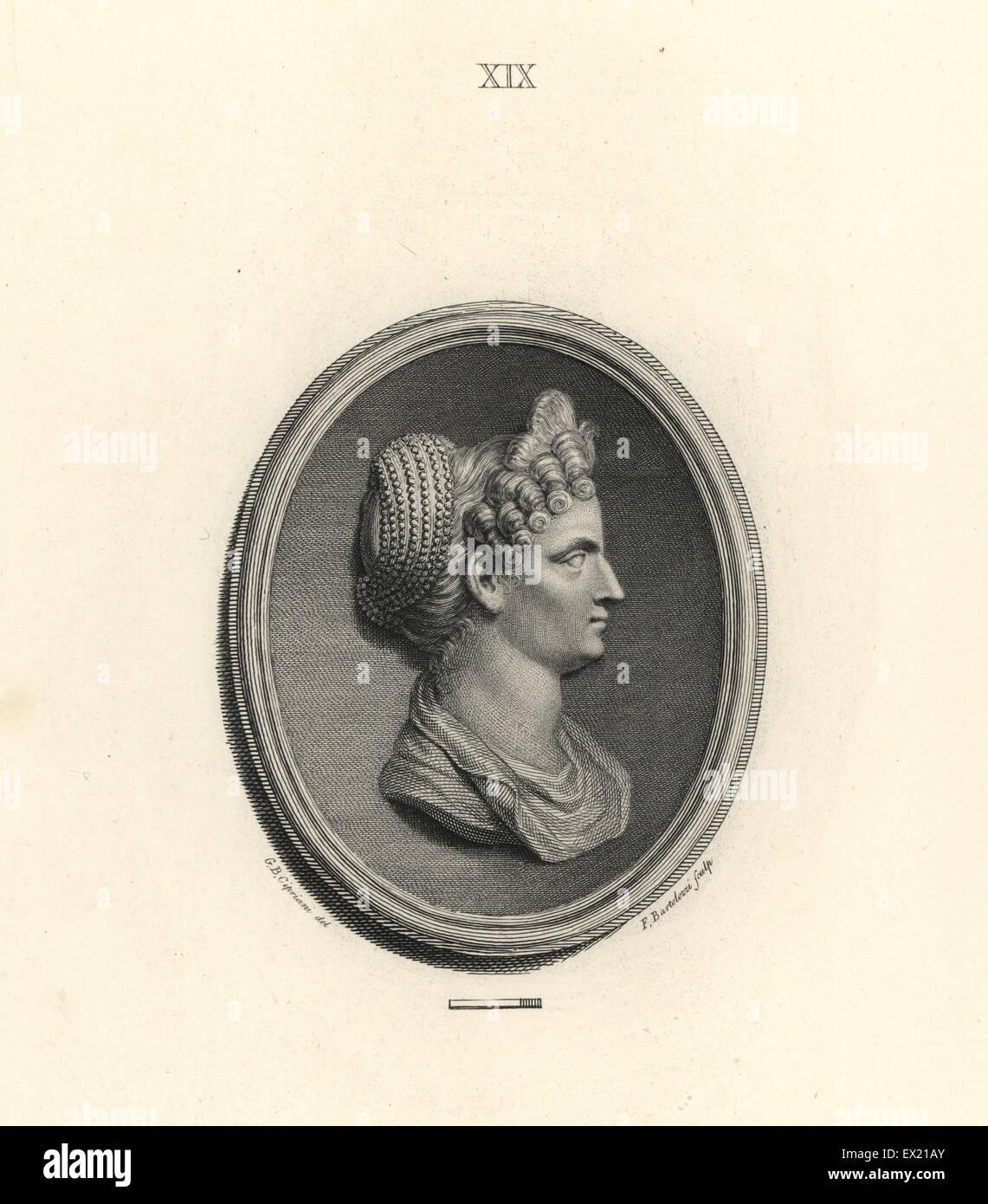 Ulpia Marciana, ältere Schwester des Roman Emperor Trajan. Kupferstich von Francesco Bartolozzi nach einem Stockbild