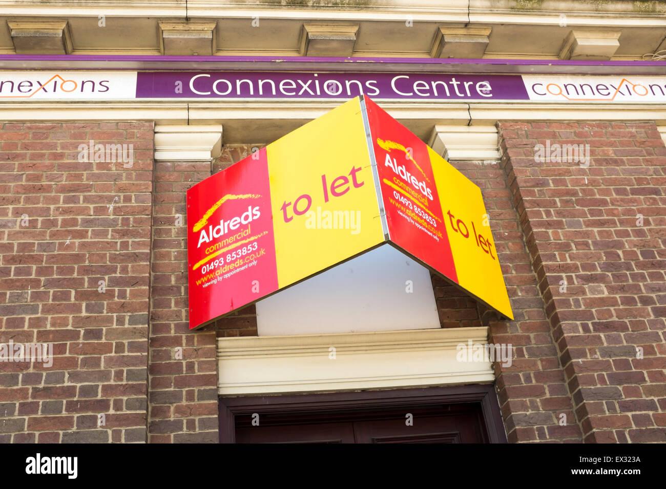 Lassen Sie frei Connexions Zentrum Jugend Dienstleistungen Karriere Beratung und Anleitung Gebäude anmelden Stockbild