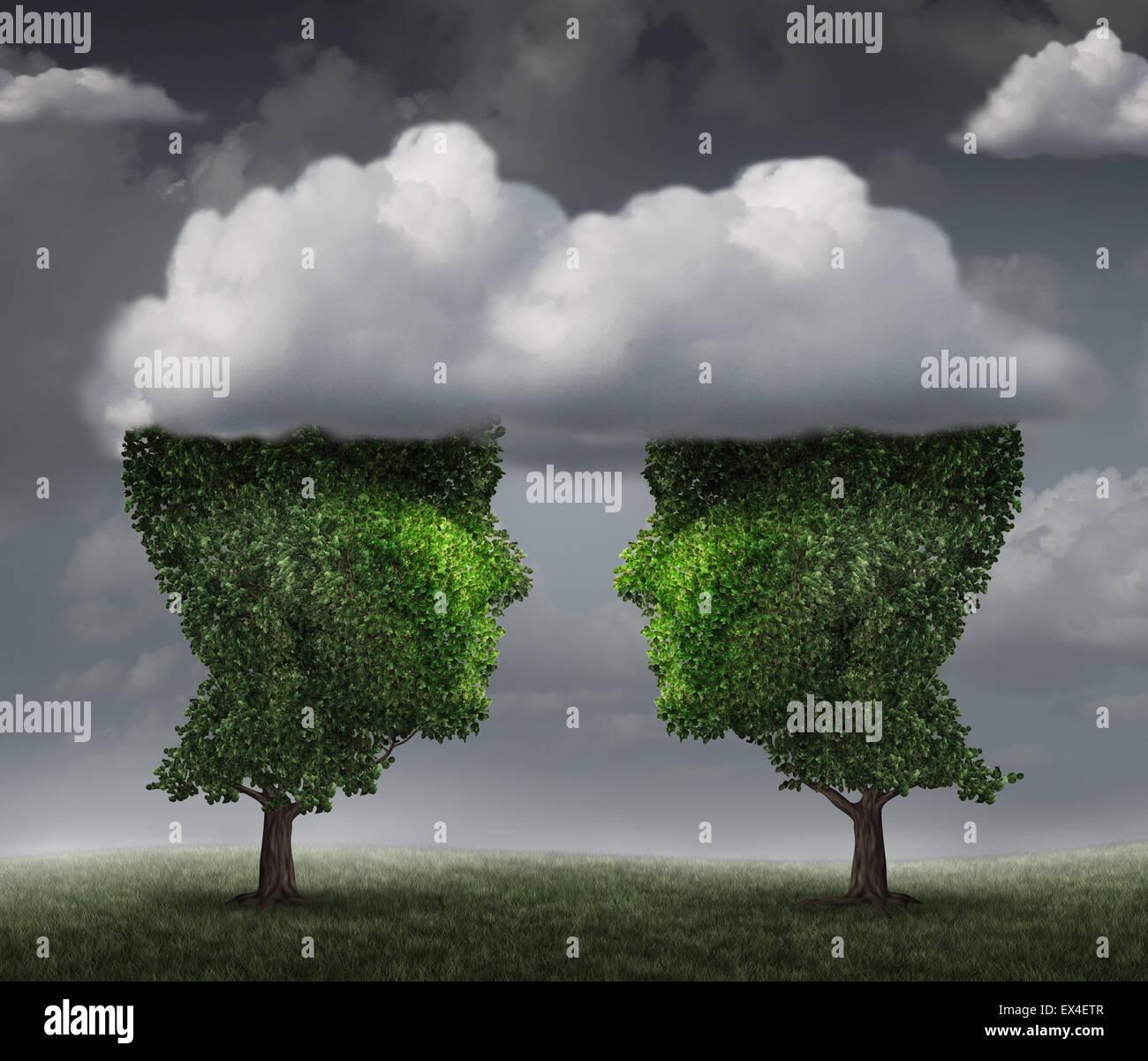 Cloud-Beziehung und wachsenden Netzwerk-Kommunikation mit einer Gruppe von zwei Bäumen geformt wie ein menschlicher Stockbild