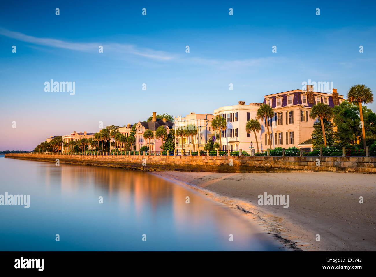 Charleston, South Carolina, USA die historischen Häuser auf der Batterie. Stockbild