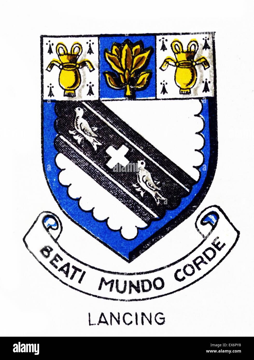 Emblem der Lancing College, Stechhilfe, West Sussex. Lancing College ist eine koedukative Englische Privatschule Stockbild