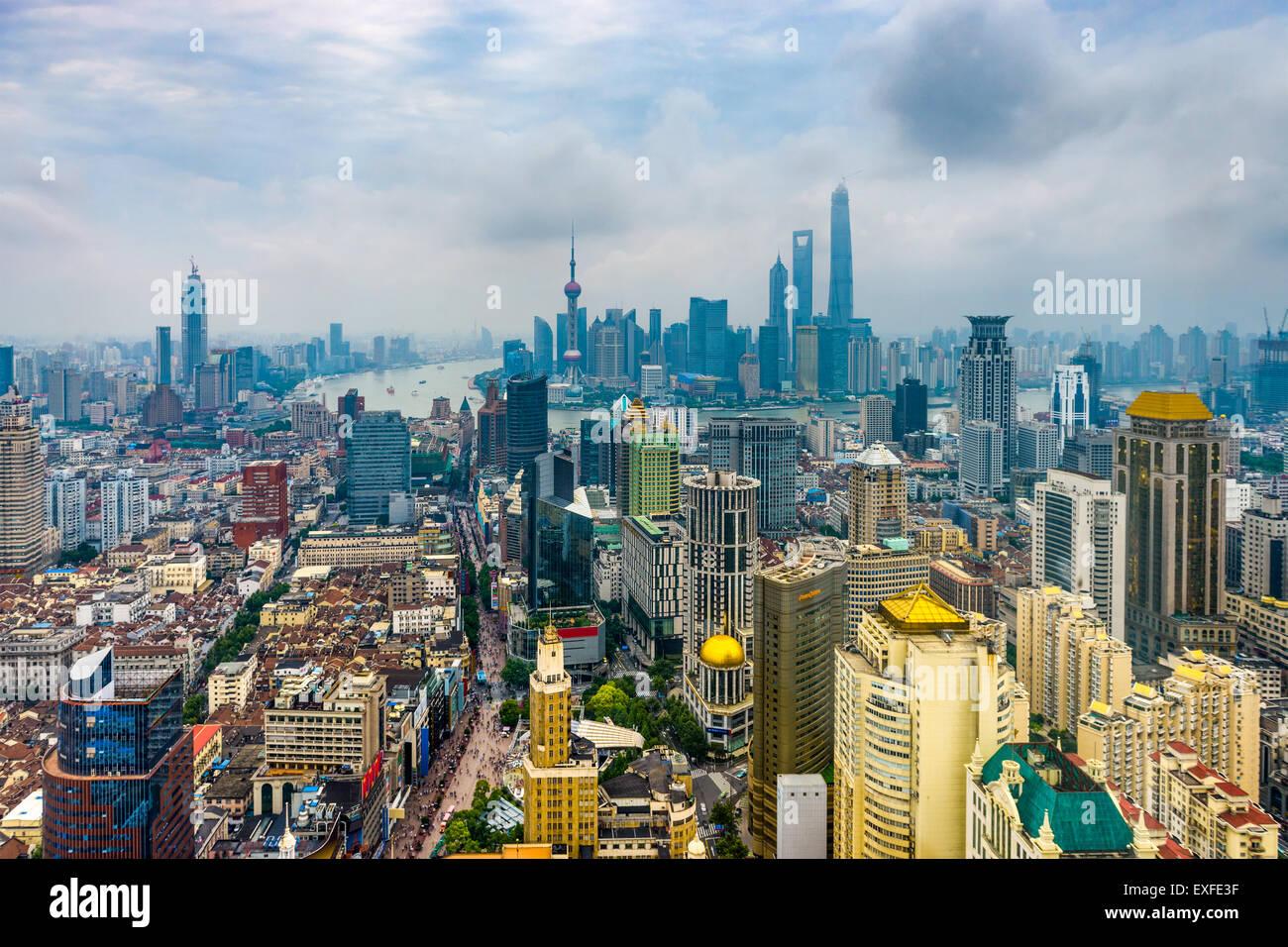 Aerial Skyline von Shanghai, China. Stockbild