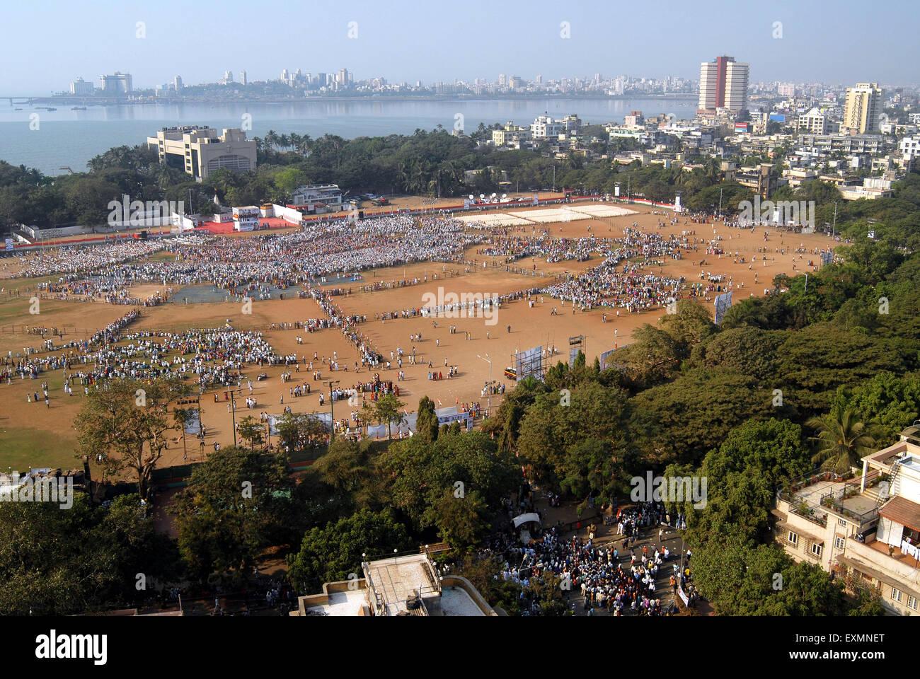 Luftaufnahme von Shivaji Park Kongress Unterstützer für Sonia Gandhi öffentlichen Kundgebung zu sammeln; Stockbild