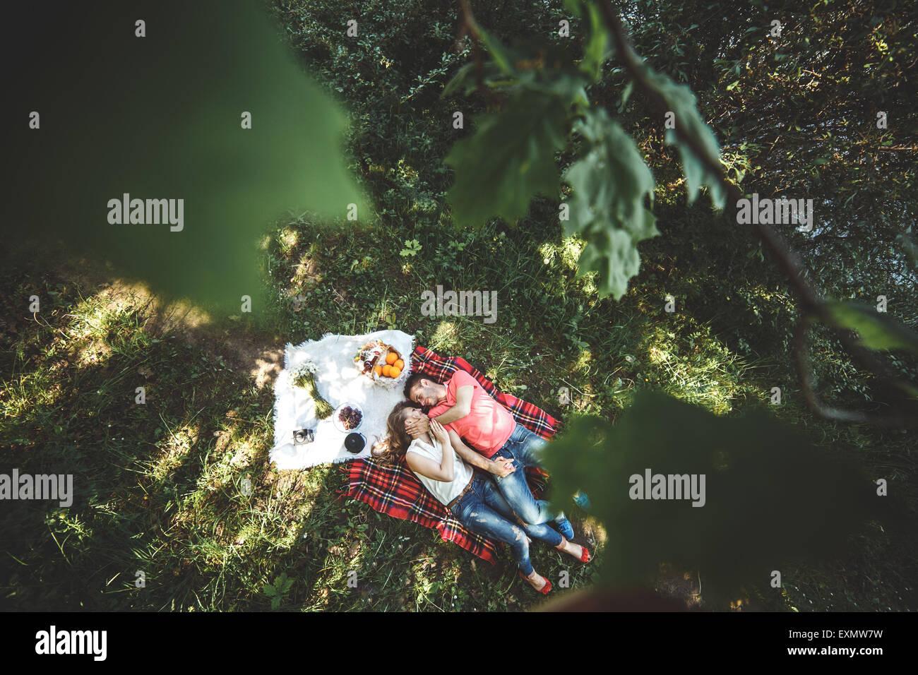 Paar auf einer picnik Stockbild