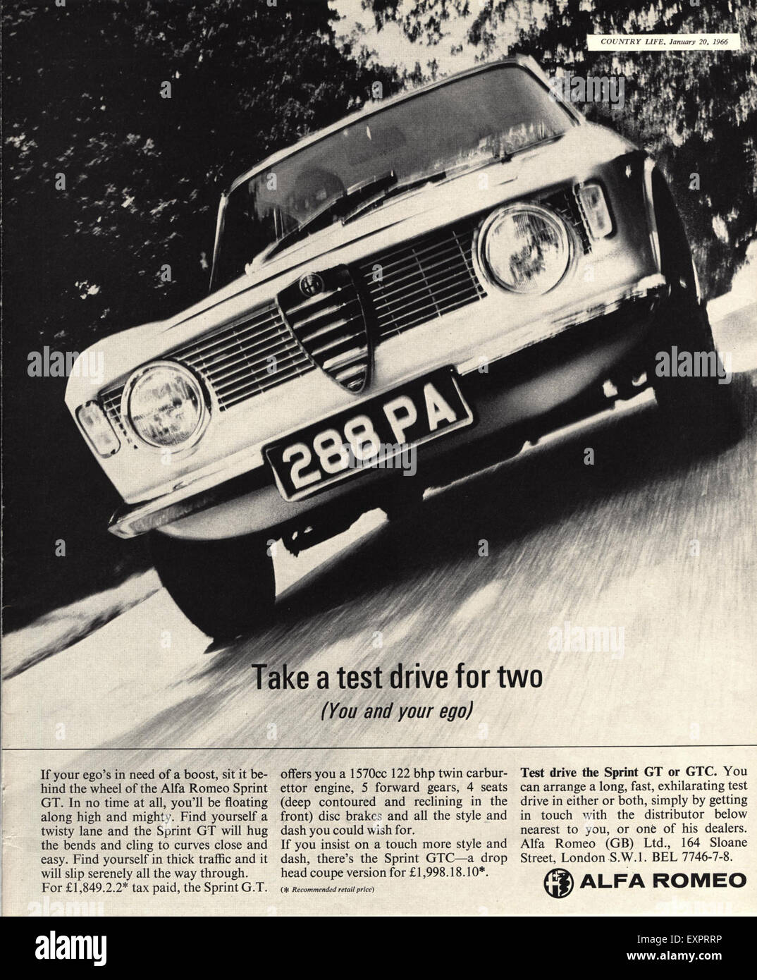 1960er Jahre UK Alfa Romeo Magazin Anzeige Stockbild