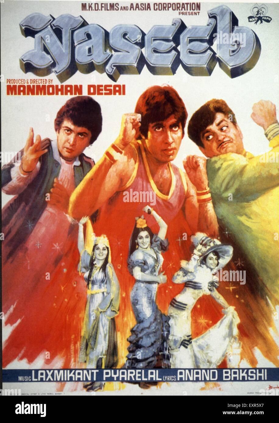 1980er Jahren Indien Naseeb Filmplakat Stockbild