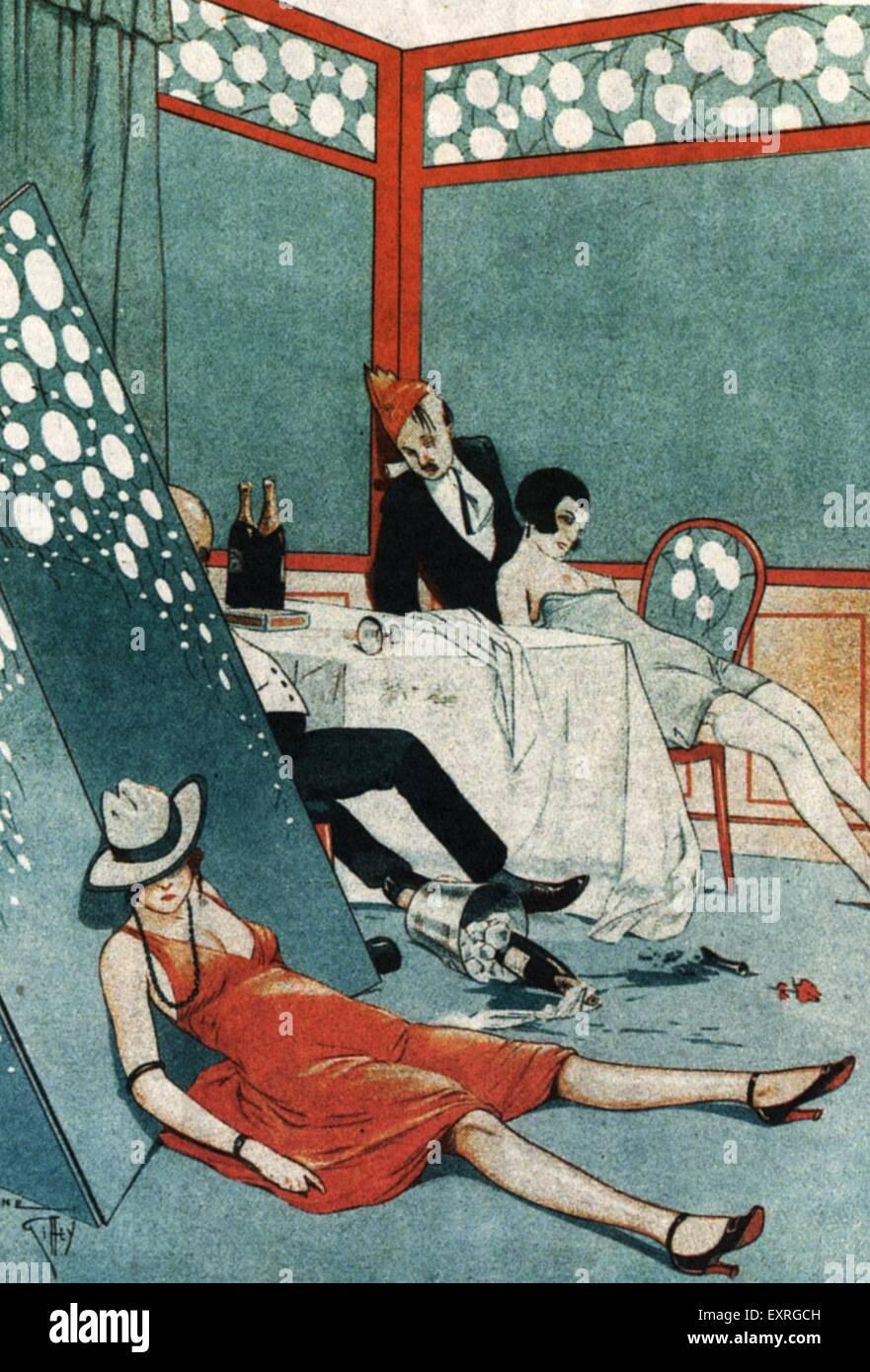 1920er Jahren Frankreich nach der Party Magazin Platte Stockbild