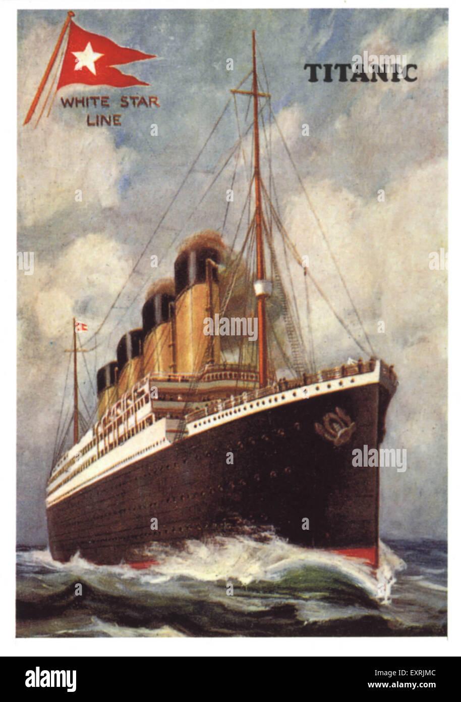 1910er Jahre UK die Titanic Poster Stockbild