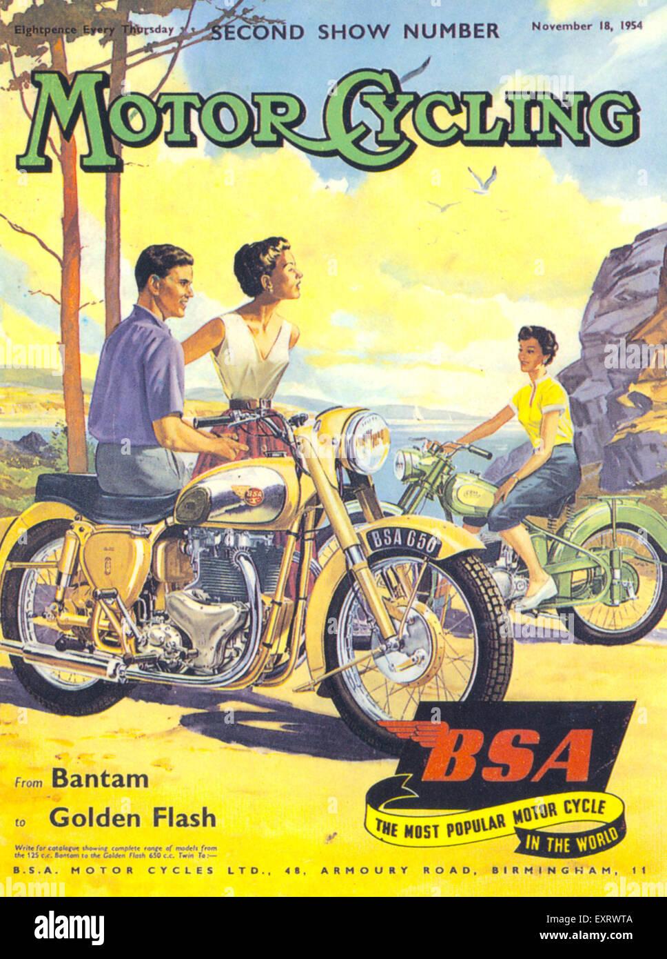 1950er Jahre UK Motorradfahren / BSA-Magazin Cover Stockbild