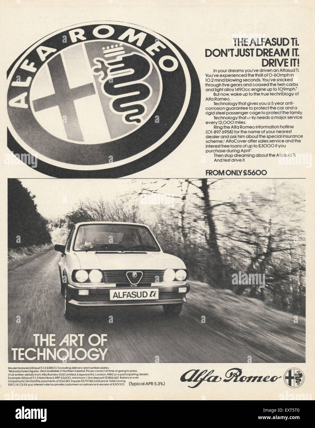 1980er Jahre UK Alfa Romeo Magazin Anzeige Stockbild