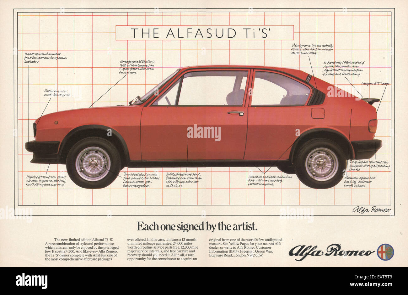 1970er Jahre UK Alfa Romeo Magazin Anzeige Stockbild