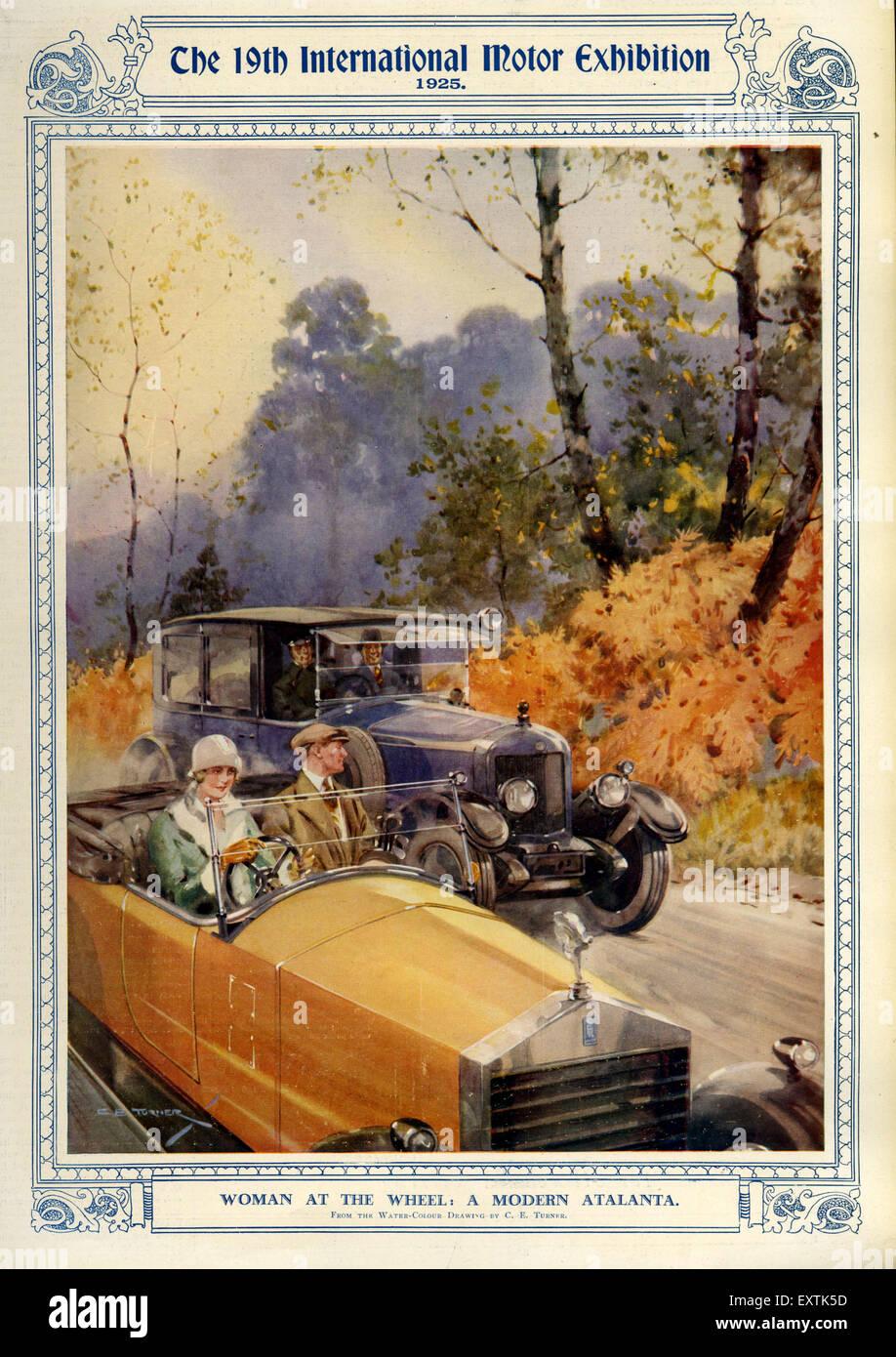 1920er Jahre UK Motor Ausstellung Magazin Platte Stockbild