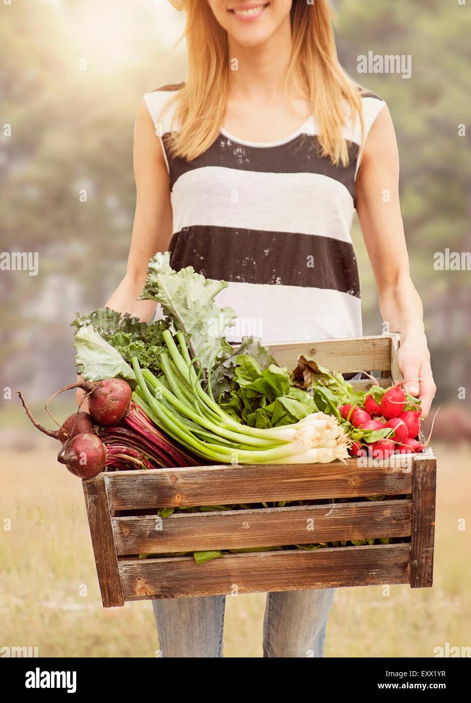 Frau mit frischem Gemüse in box Stockbild