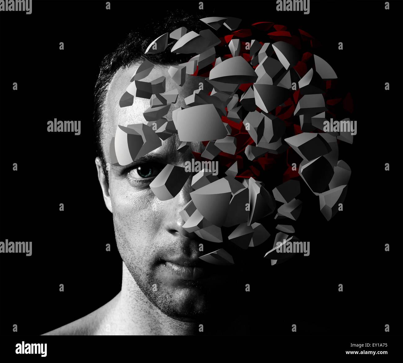 Kaukasischen Mann kreative Portrait mit 3d Explosion Fragmente auf schwarzem Hintergrund Stockbild