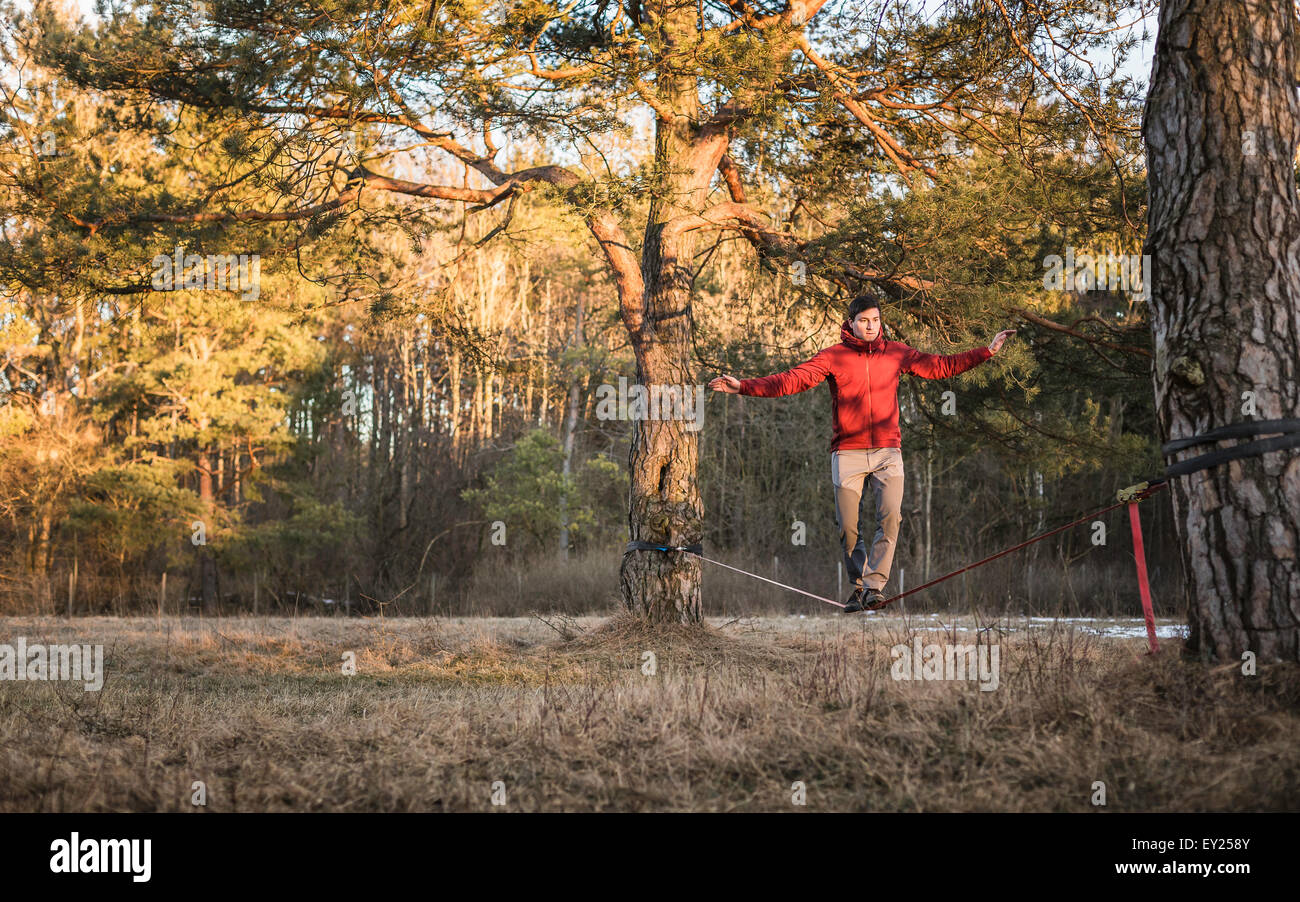 Junger Mann, balancieren auf der Slackline im Wald Stockbild