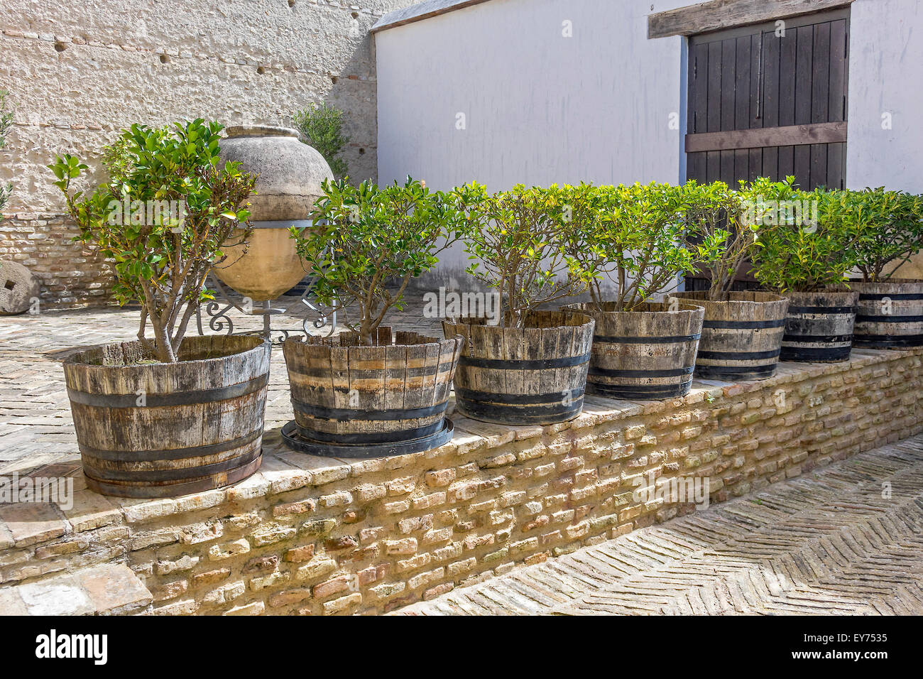 Terrasse mit Garten Töpfe Alcazar Jerez De La Frontera Andalusien Spanien Stockbild