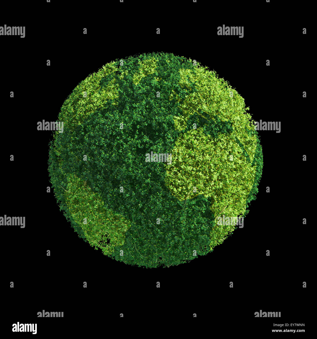 Weltkugel aus grün geformte Blätter - Ökologie-Konzept Stockbild