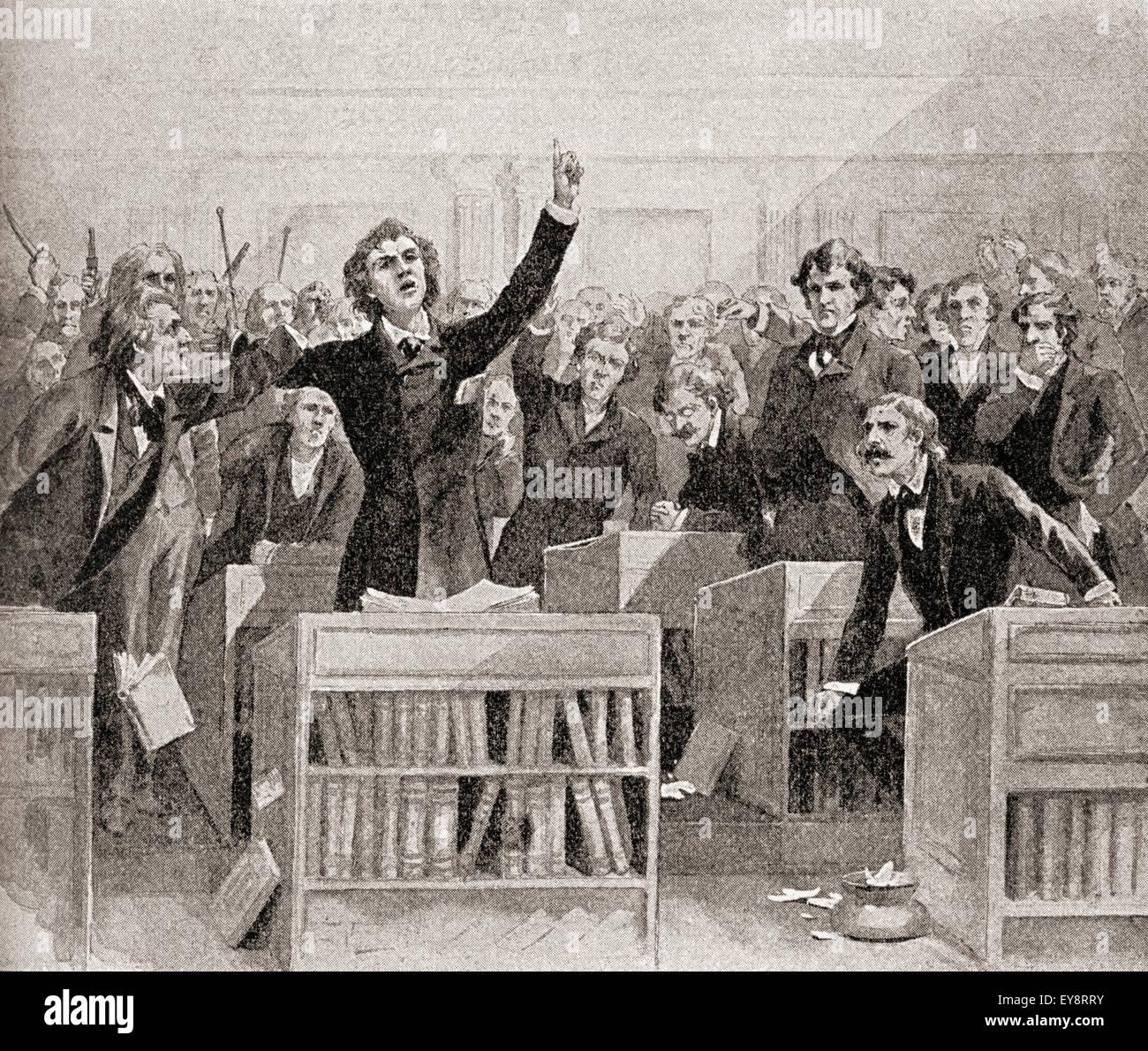 Eine hitzige Debatte über das Thema Sklaverei im amerikanischen Kongress, 1850. Stockbild