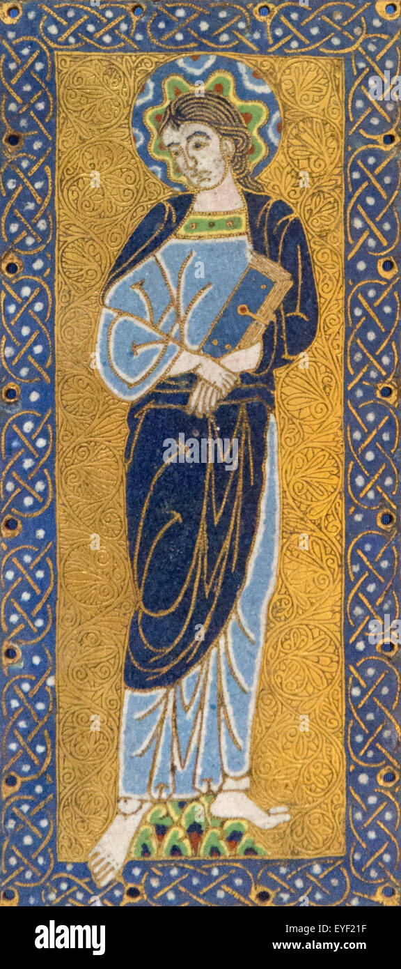 Plaketten mit der Jungfrau. Diese Emaille-Plaketten waren ursprünglich das Wappen ein großes Kreuz befestigt. Stockbild