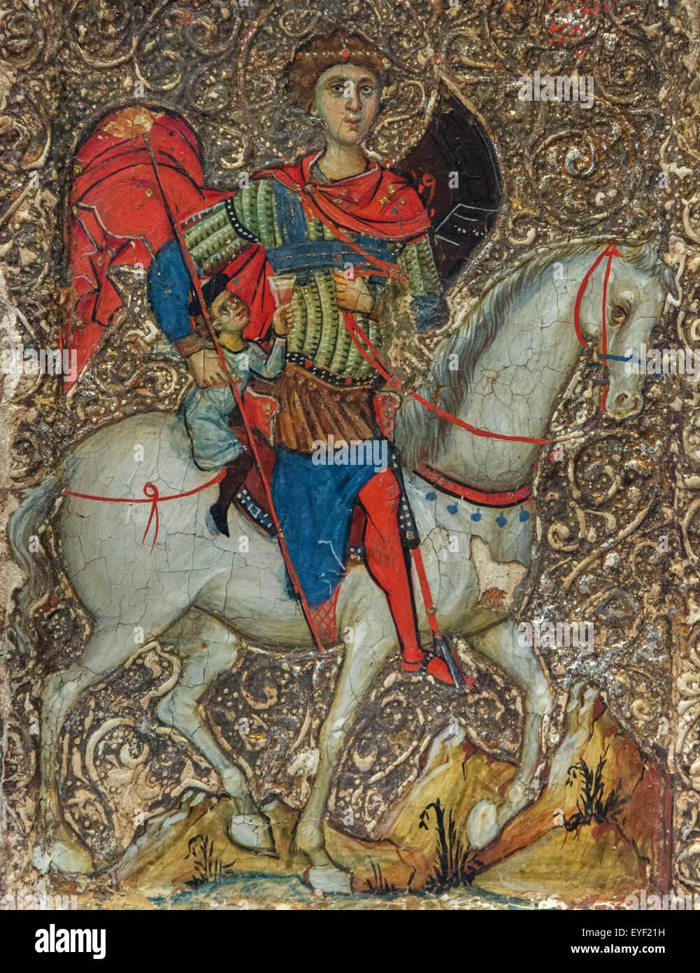 Symbol mit St. Georg und die Jugend von Mytilene. Dieses Symbol zeigt eine Legende über eine christliche Jugend Stockbild
