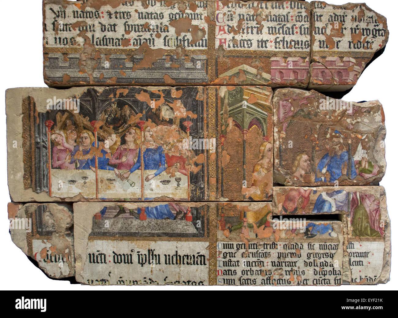 Wandmalerei aus St.-Stephans Kapelle. St.-Stephans war der königlichen Kapelle in der Palace of Westminster, Stockbild