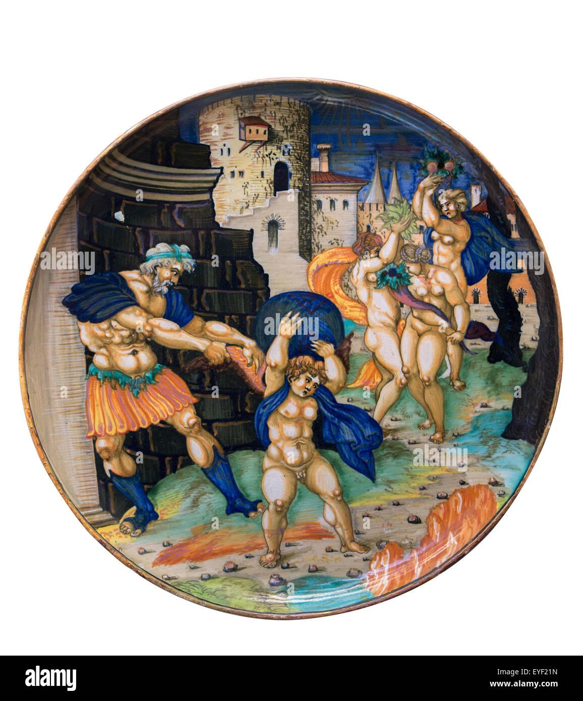 Gericht, eine politische Allegorie. Eingetragen von Guilio da Urbino 1534, wahrscheinlich in Urbino, durch eine Stockbild