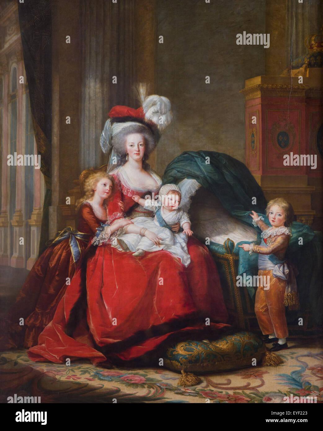 Die Königin Marie Antoinette und seinen Kindern 12.10.2013 - Sammlung des 19. Jahrhunderts Stockbild