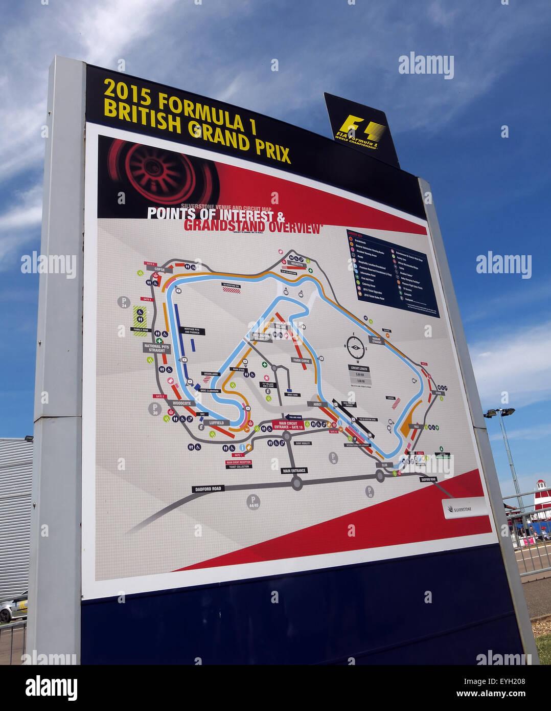 Laden Sie dieses Alamy Stockfoto Silverstone F1 britischen Grand Prix Karte der Schaltung, GP England - EYH208