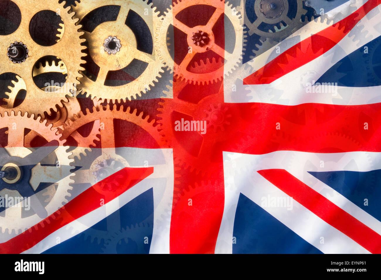 Britische Engineering und Herstellung - Flagge des Vereinigten Königreichs. Stockbild