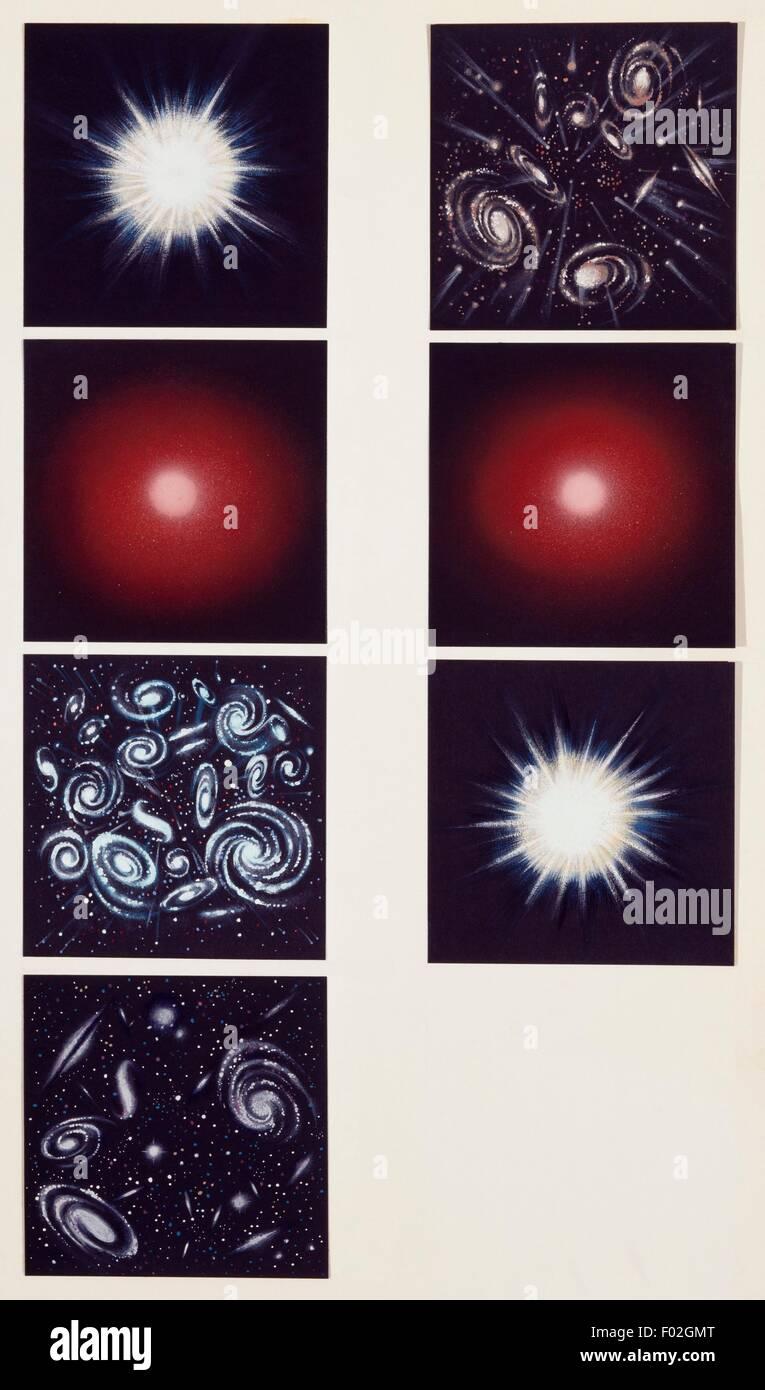 Geschichte des Universums, Zeichnung. Stockbild