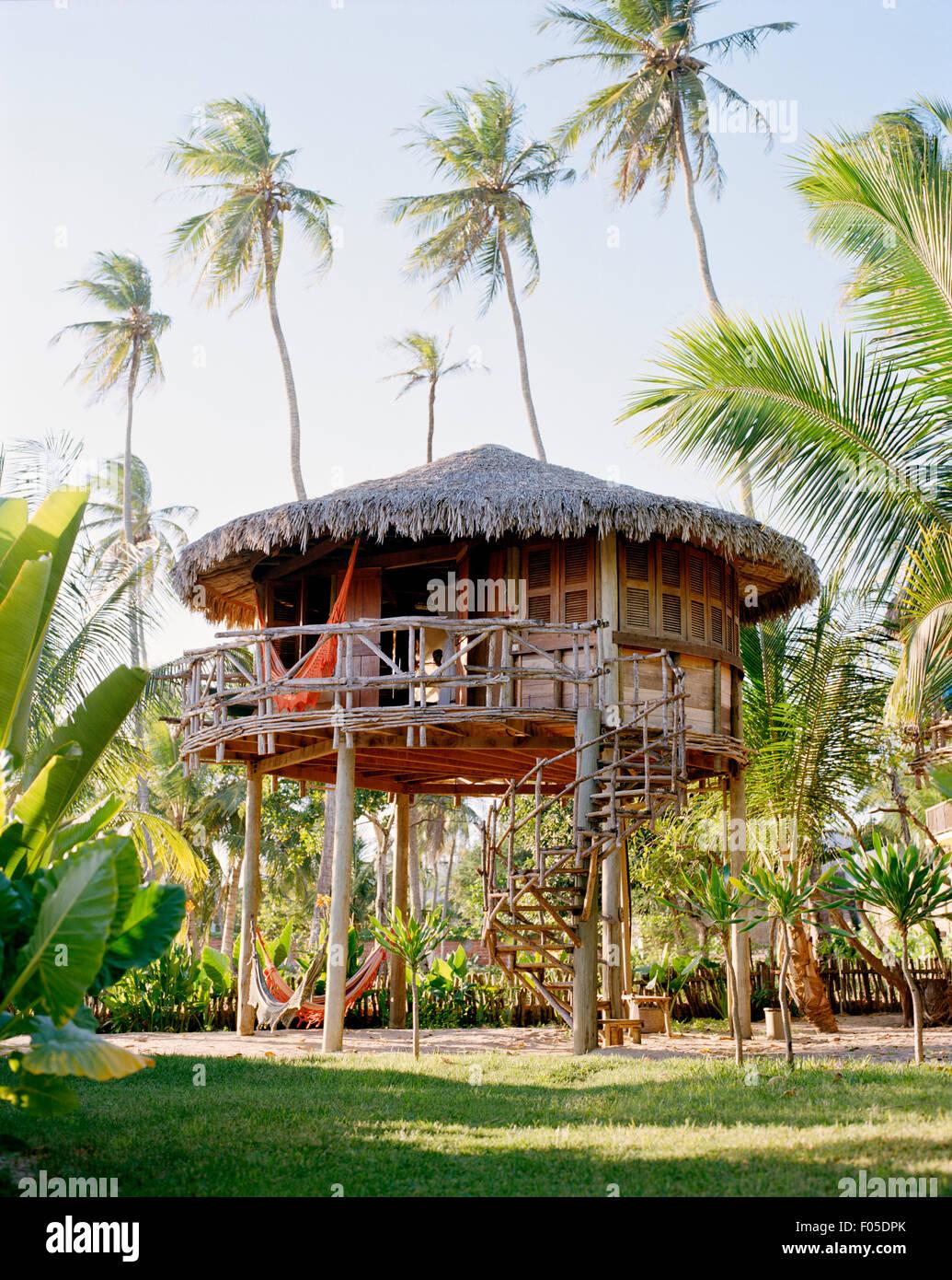 Exterieur der Villa # 18 im Hotel Vila Kalango. Jericoacoara, Ceara, Brasilien. Südamerika Stockbild