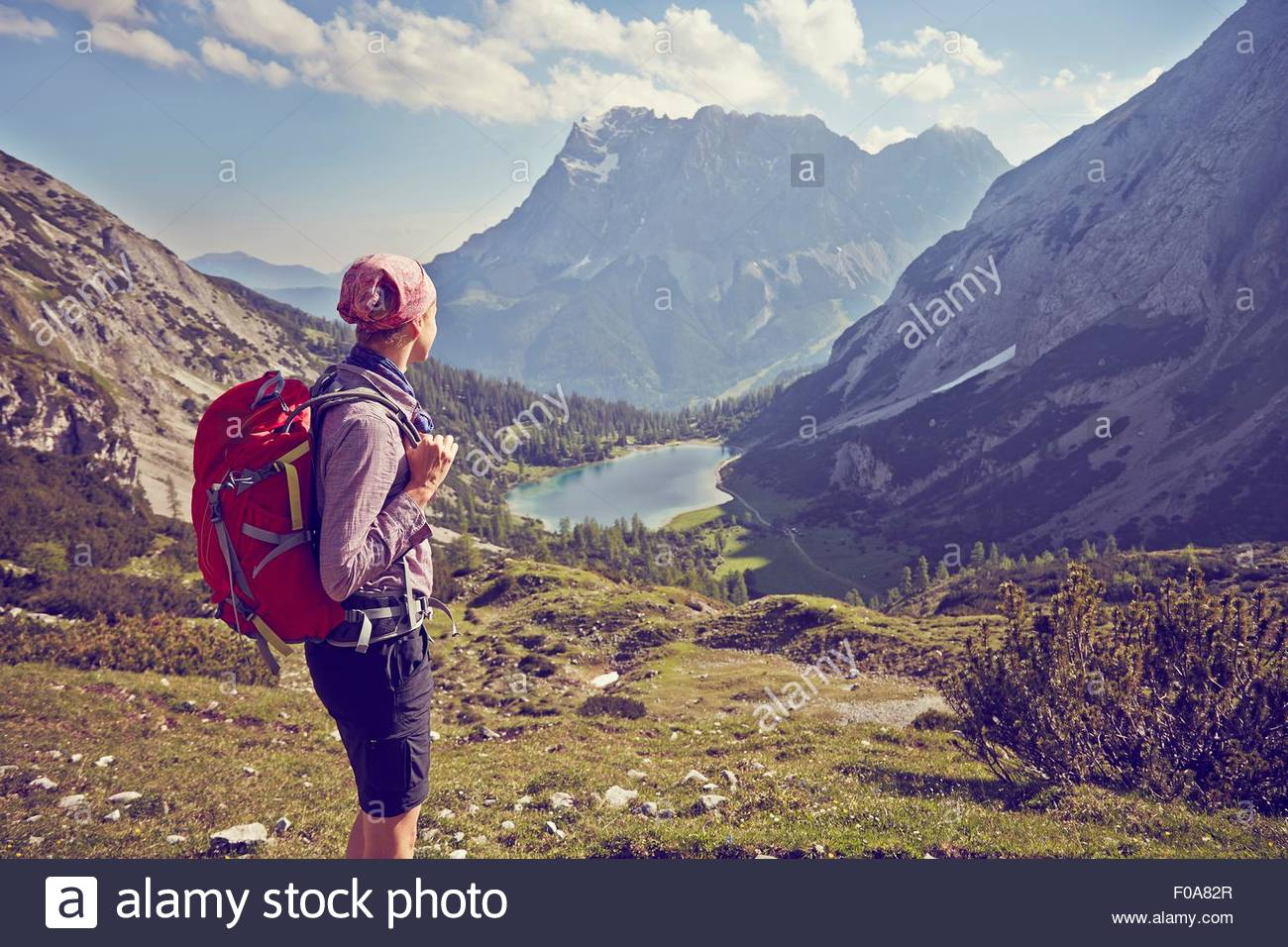 Reife Frau, Wandern, Berg, betrachten, Ehrwald, Tirol, Österreich Stockbild