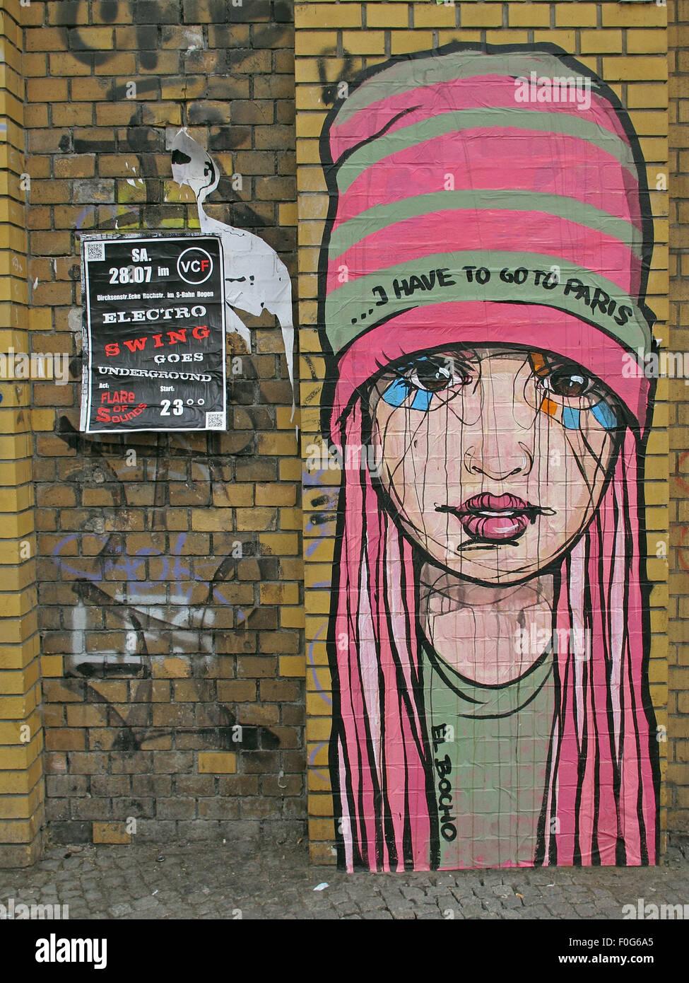 Laden Sie dieses Alamy Stockfoto Mädchen-Graffiti auf einer Berliner Mauer, Straßenkunst, Deutschland - F0G6A5