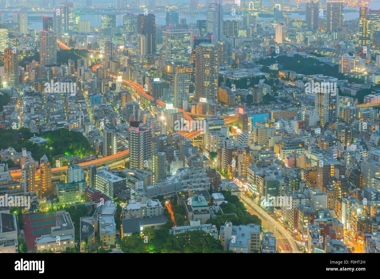 Tokyo, Japan Stadtbild und Autobahnen Stockbild