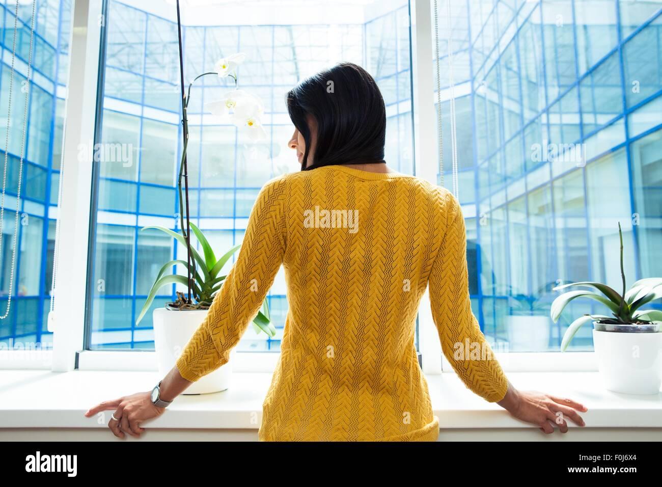 Rückansicht Porträt eine Geschäftsfrau, stehend im Büro in der Nähe von Fenster Stockbild