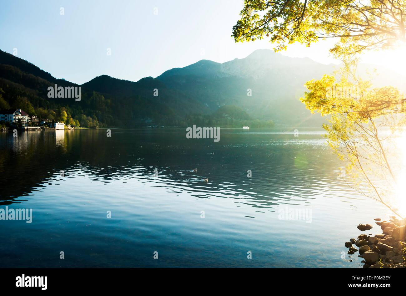 Sonnenuntergang am See Kochel, Bayern, Deutschland Stockbild