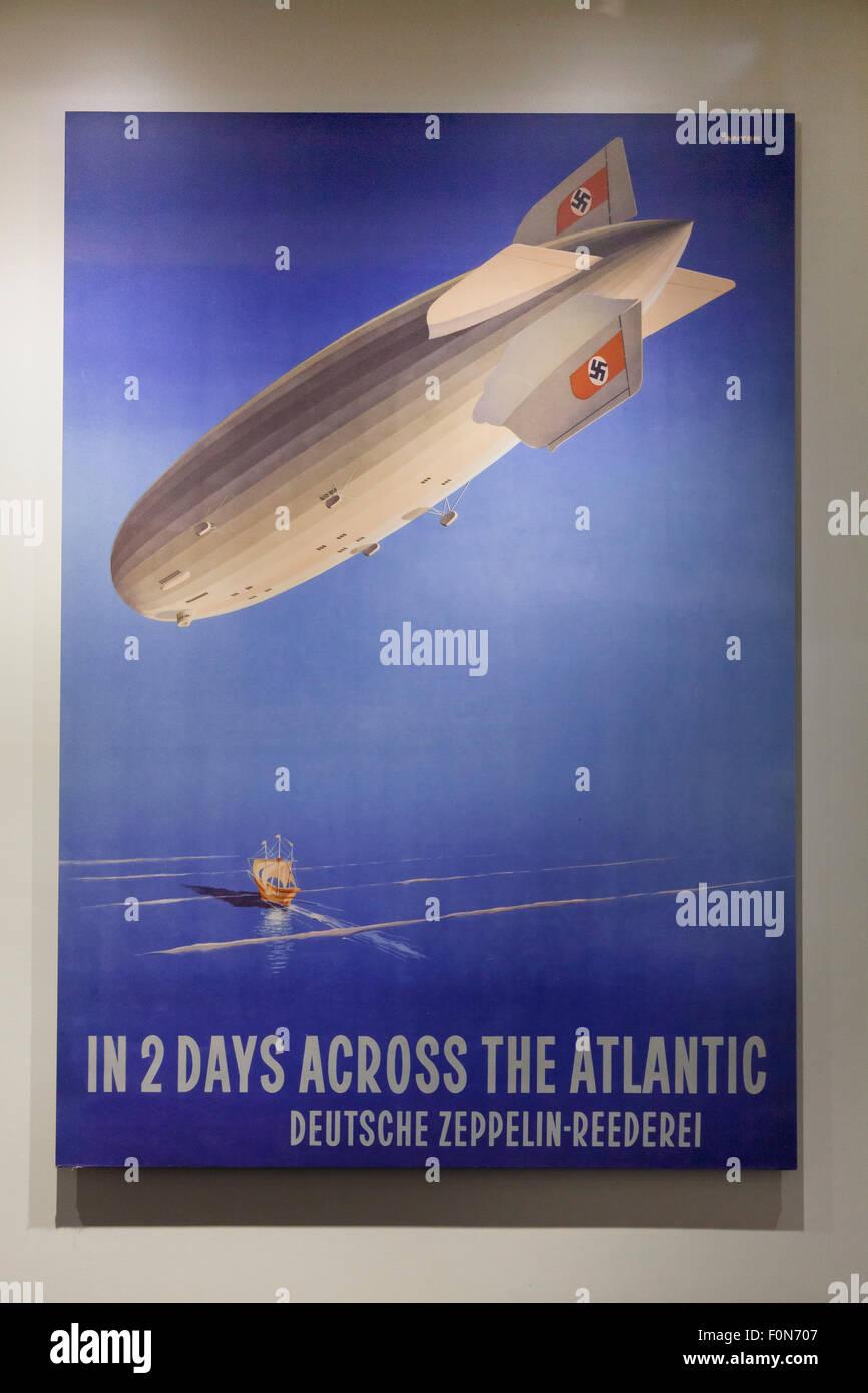 Vintage Deutsche Zeppelin Reederei Werbeplakat, ca. 1930er Jahre Stockbild