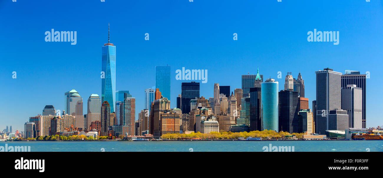 Panorama von New York City mit One World Trade Center Stockbild