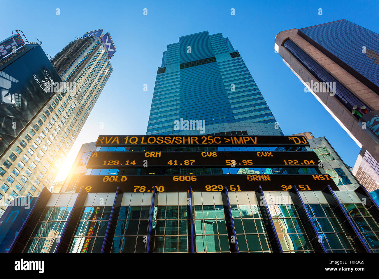 New York City, Börsenticker bei Morgan Stanley Building Stockbild