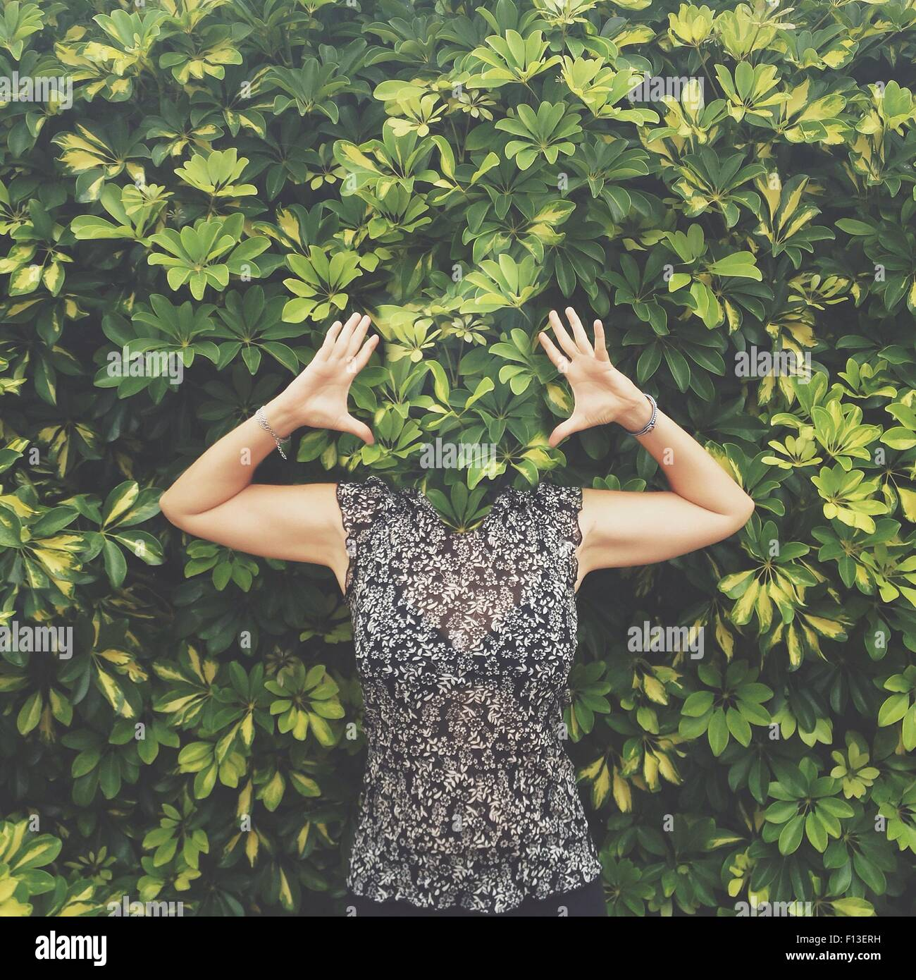 Frauen mit Gesicht versteckt hinter Blättern stehend mit erhobenen Armen Stockbild