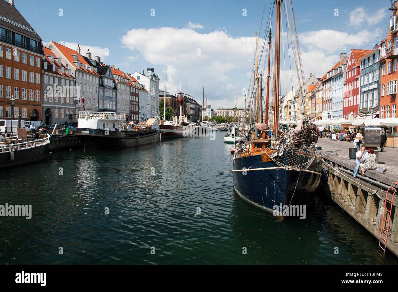 Nyhavn in Kopenhagen, Dänemark. Stockbild