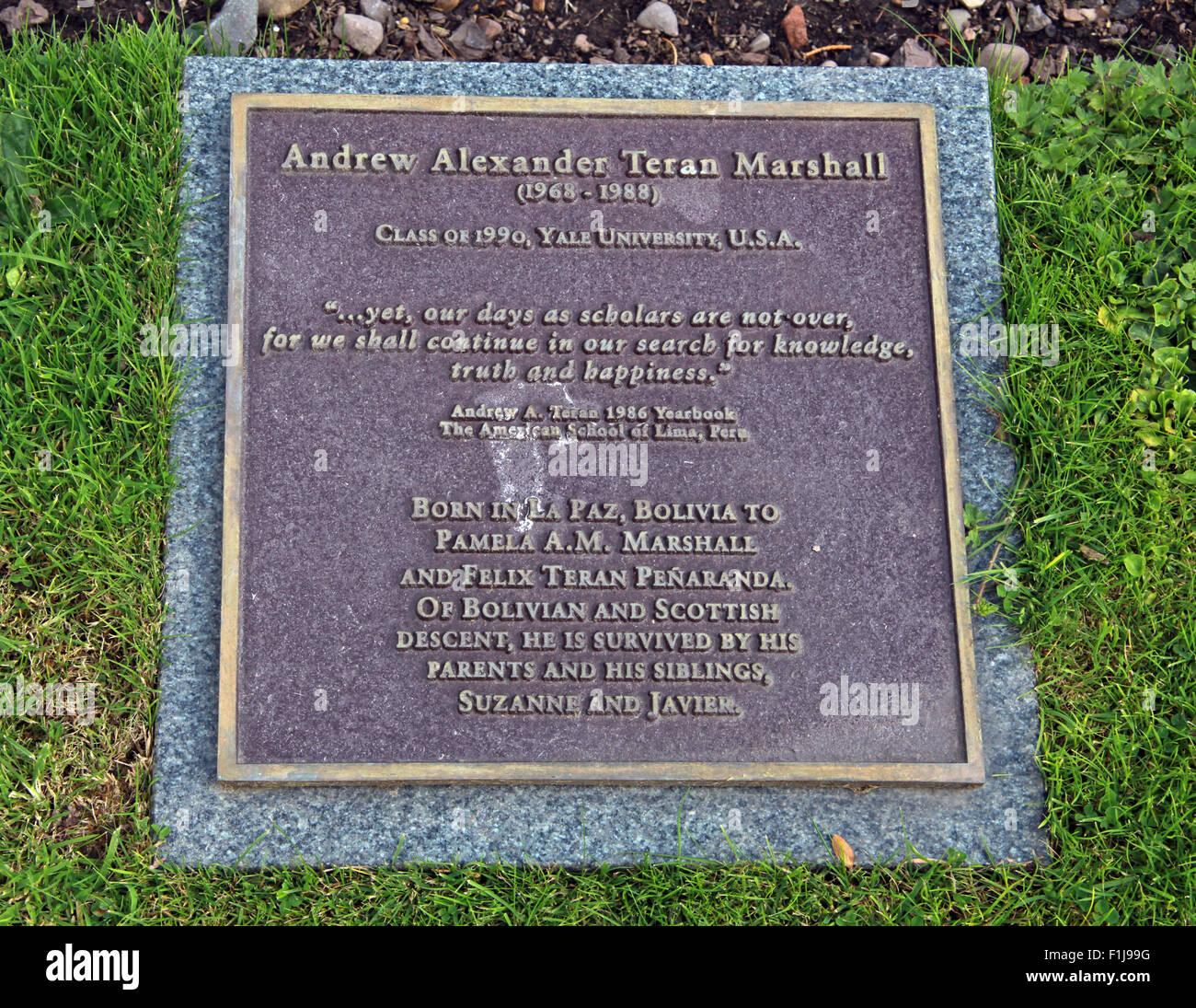 Laden Sie dieses Alamy Stockfoto Lockerbie PanAm103 In Erinnerung Memorial Andrew Alexander Teran Marshall, Schottland - F1J99G