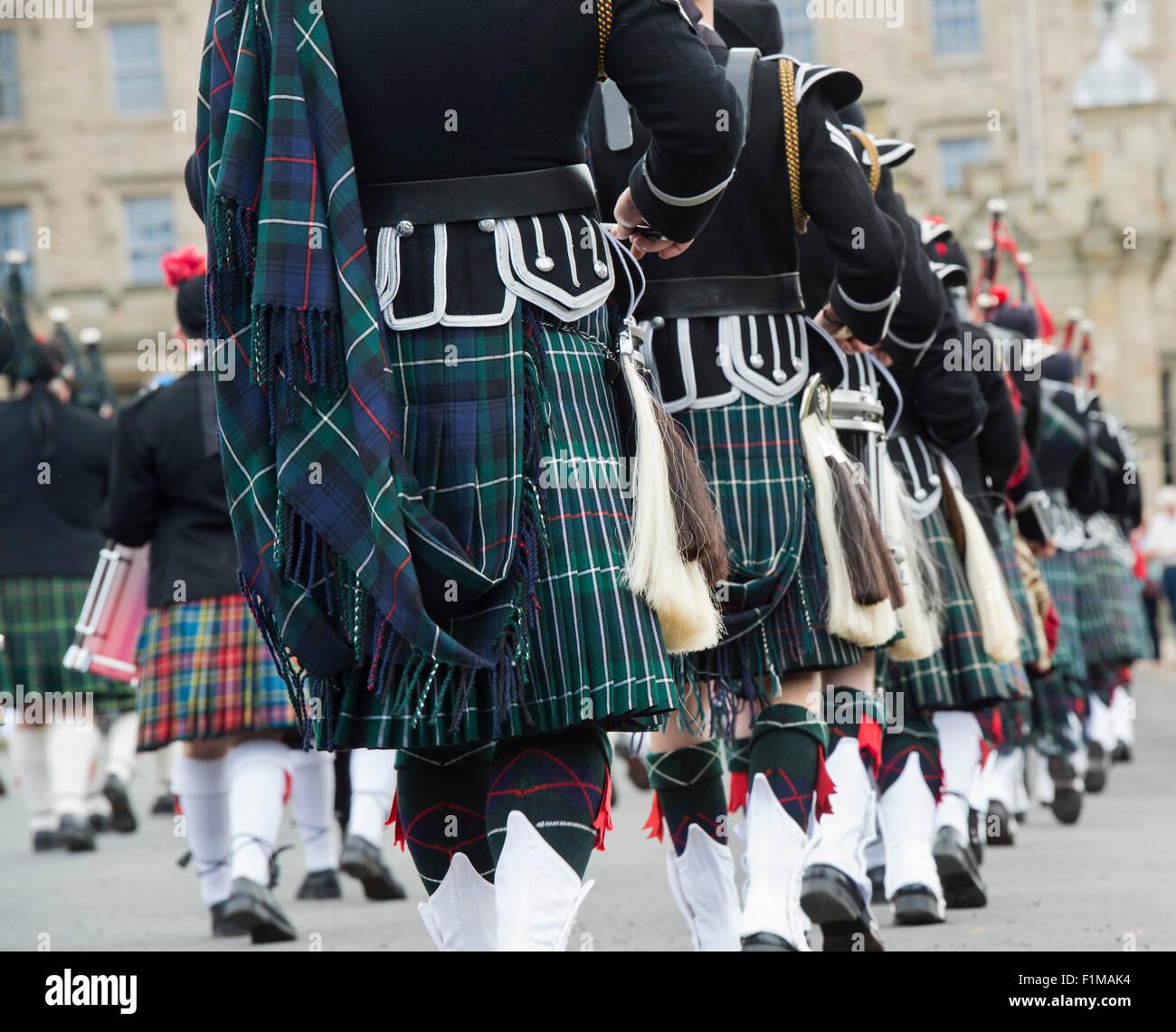 Massed Pipebands auf Floors Castle. Kelso, Schottland Stockbild