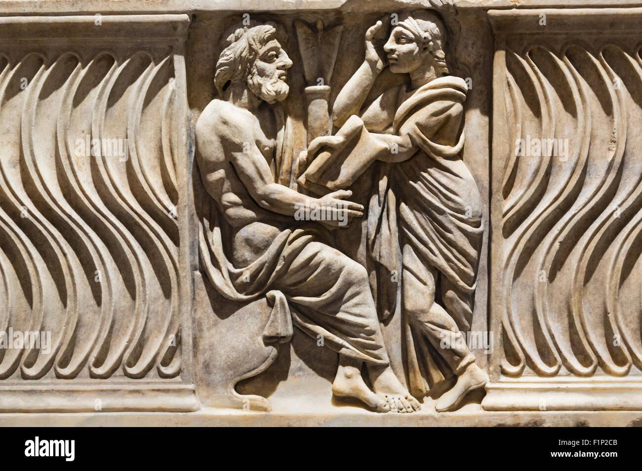 Rom Italien Dekoration Auf Einem Sarkophag Mit Bild Des
