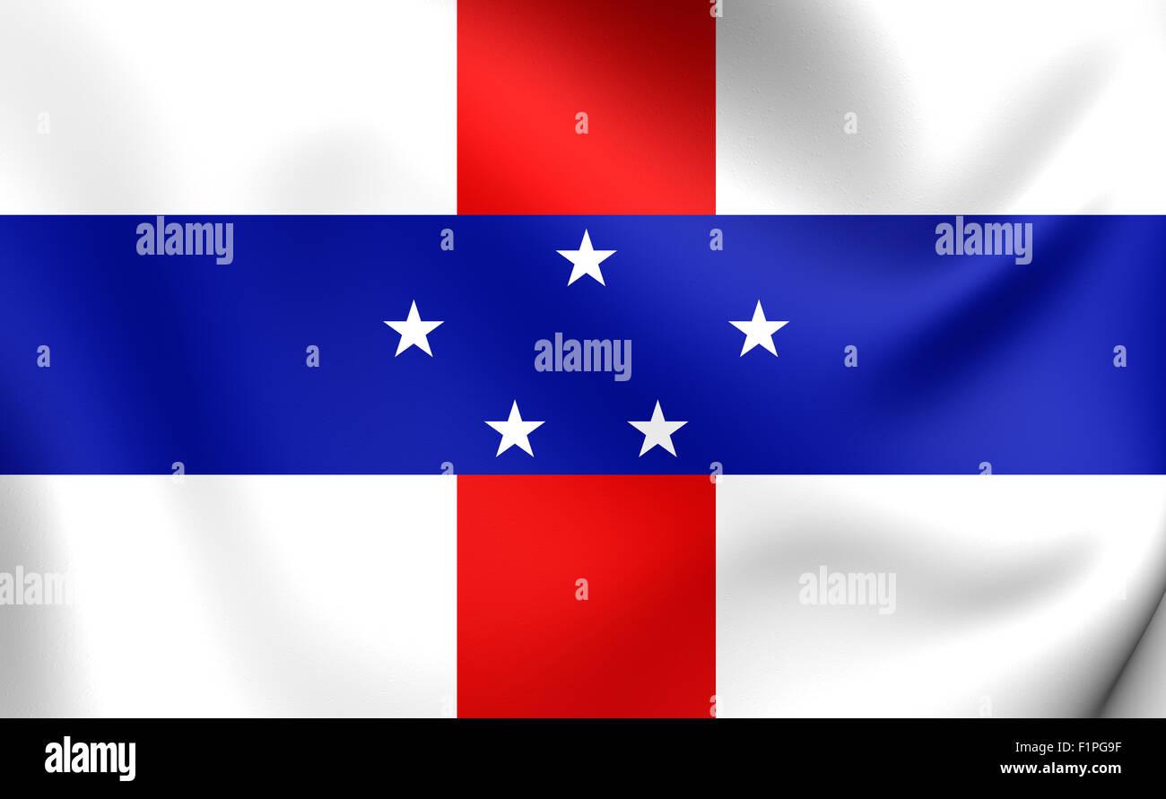 3D Flagge der niederländischen Antillen (1986-2010). Hautnah. Stockbild