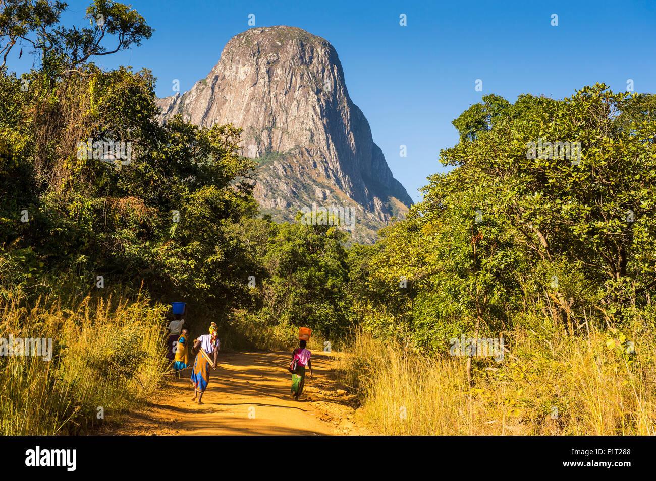 Staubige Strecke Laeding die Granit-Gipfel des Mount Mulanje, Malawi, Afrika Stockbild